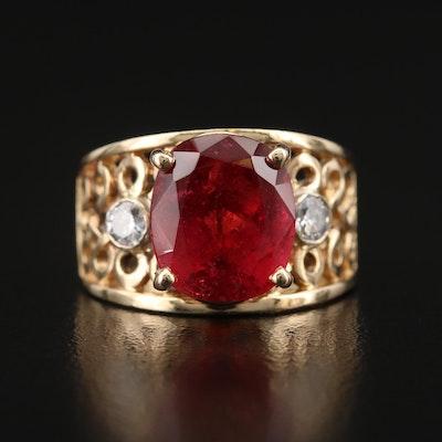 14K 4.90 CT Rubellite Tourmaline and Diamond Openwork Ring