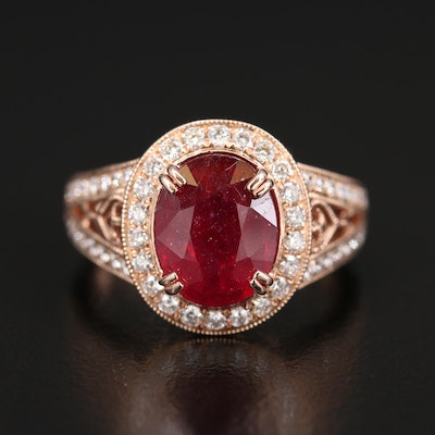 14K Rose Gold 3.90 CT Ruby and 1.08 CTW Diamond Halo Ring