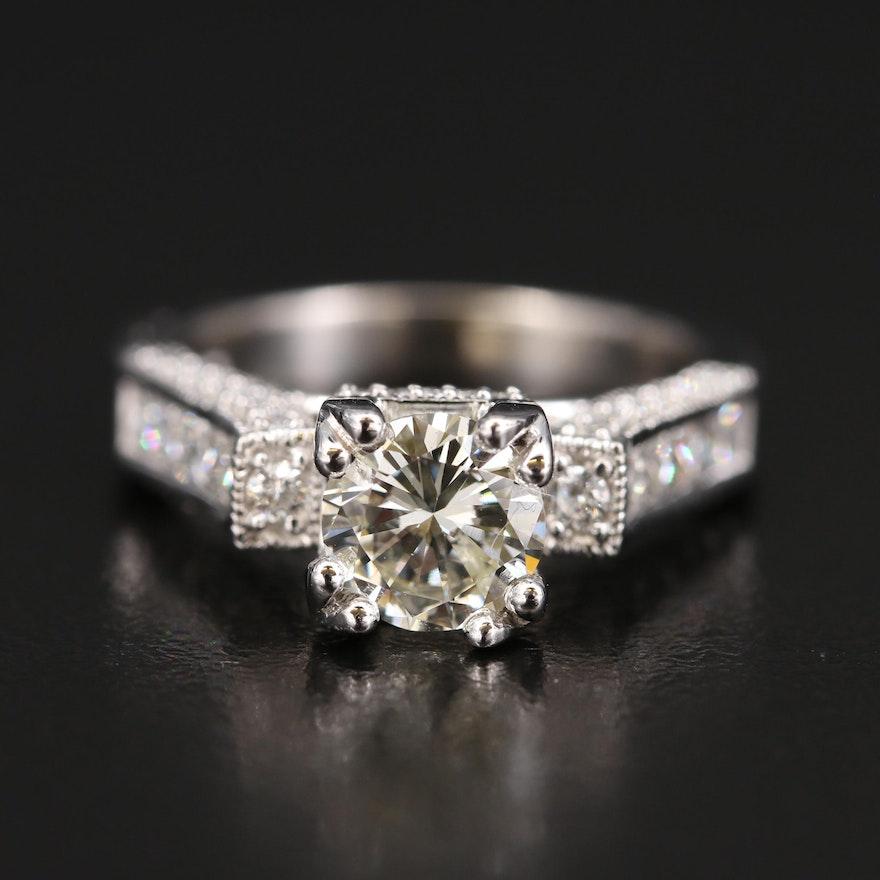 14K Diamond Ring with 1.30 CT Center