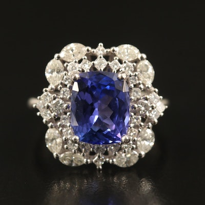 14K 4.00 CT Tanzanite and 1.23 CTW Diamond Ring
