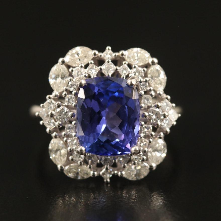 14K 4.00 CT Tanzanite and 1.23 CTW Diamond Ring