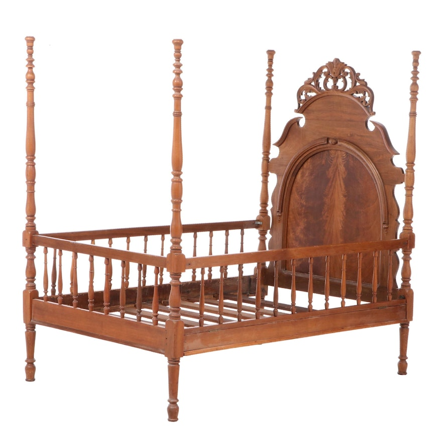 Child's Victorian Rococo Revival Walnut and Flame Mahogany Bed Frame