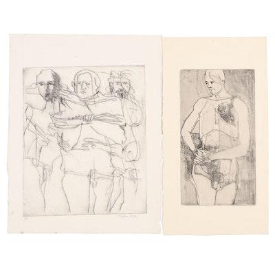 John Tuska Mixed Media Figural Drawings, 1970s
