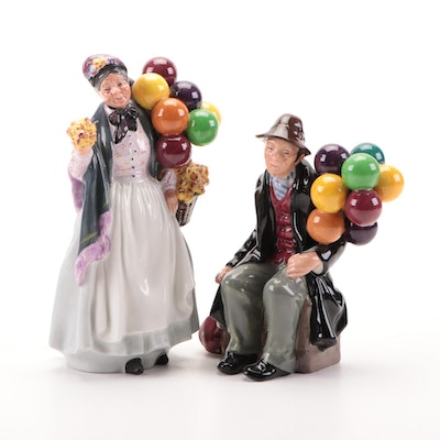 "Royal Doulton ""The Balloon Man"" and ""Biddy Penny Farthing"" Bone China Figurines"