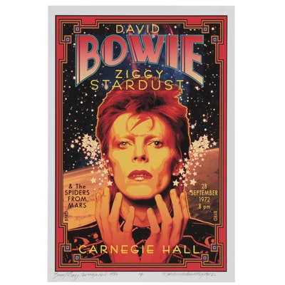 "David Edward Byrd Giclée ""Bowie/Ziggy at Carnegie Hall 1972,"" 2021"