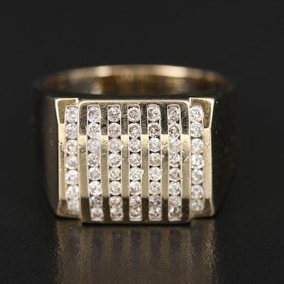 14K 1.00 CTW Diamond Multi-Row Ring