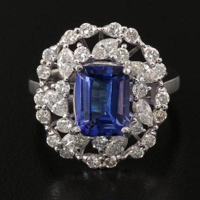 14K 2.90 CT Tanzanite and 1.44 CTW Diamond Openwork Ring