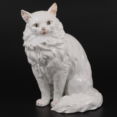 Carl Thieme Potschapple Cat Figurine, Early to Mid 20th Century