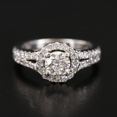 18K and Platinum Diamond Ring with European Shank