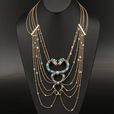 Sterling Diamond, Sapphire and Cubic Intertwined Snakes Festoon Necklace