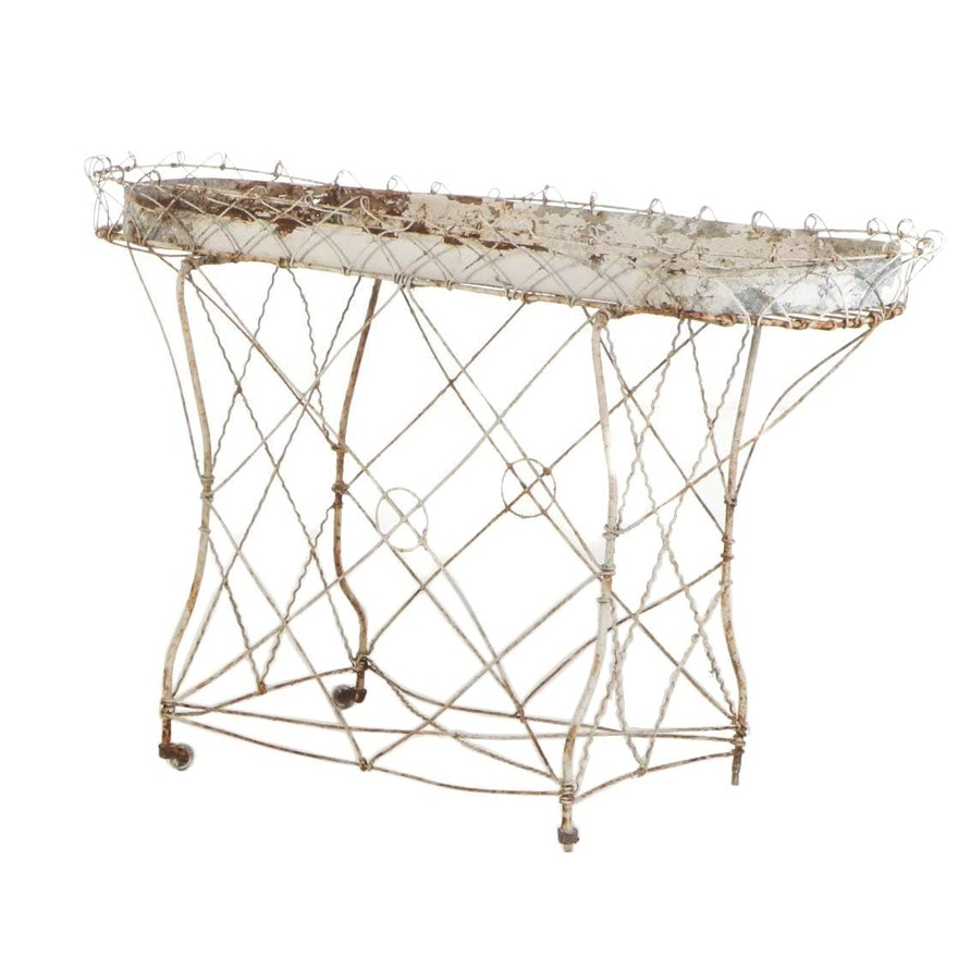 Late Victorian White-Painted Wirework Planter, Late 19th/Early 20th Century
