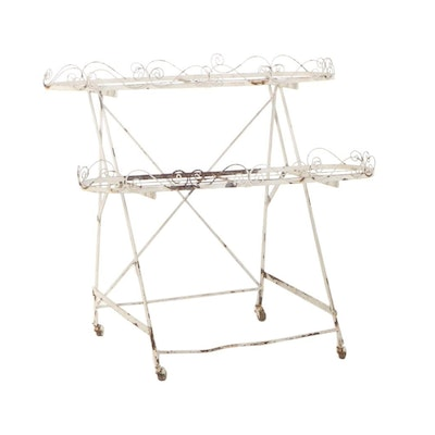 Late Victorian White-Painted Wirework Two-Tier Plant Stand