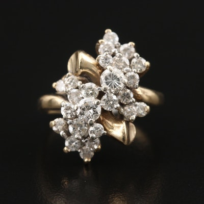 14K 1.50 CTW Diamond Cluster Ring