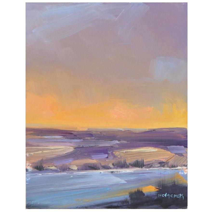 "Stephen Hedgepeth Landscape Oil Painting ""Sunset,"" 21st Century"