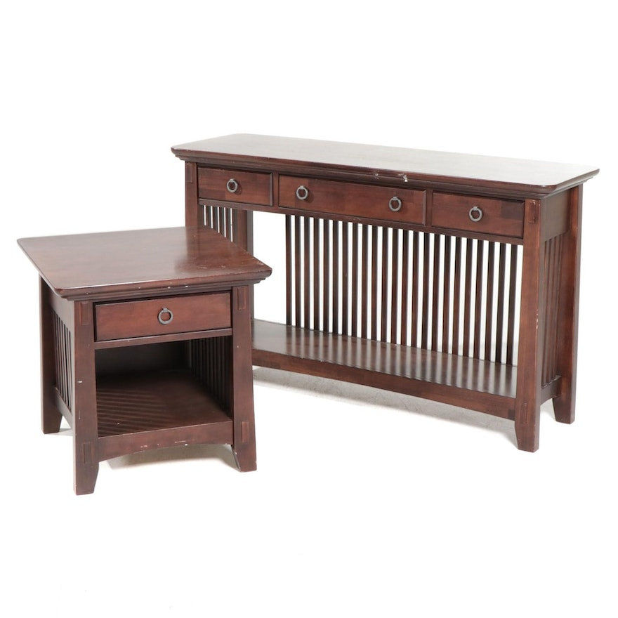 American Signature Arts & Crafts Style Wooden Sofa Table and End Table