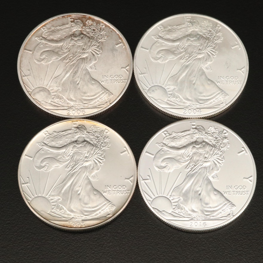 Four .999 Fine American Silver Eagle Coins