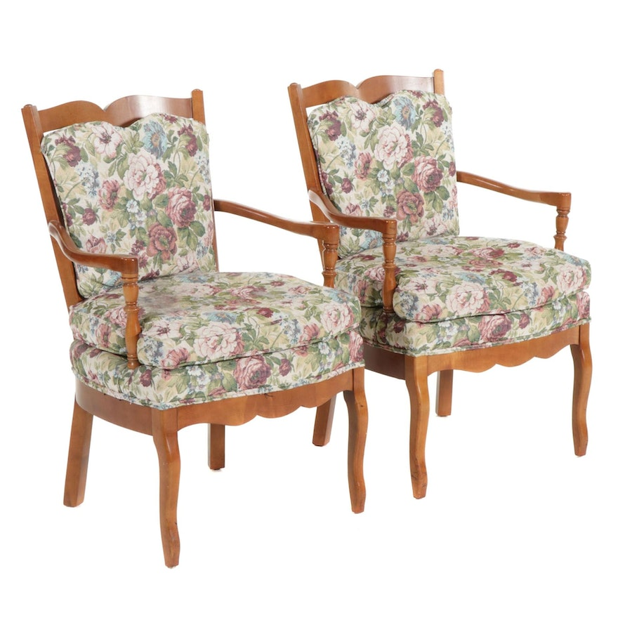 Pair of French Provincial Style Wooden Armchairs with Upholstered Seats