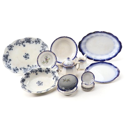 "New Warf ""Dunbarton"" Flow Blue Porcelain Serveware with Tableware"