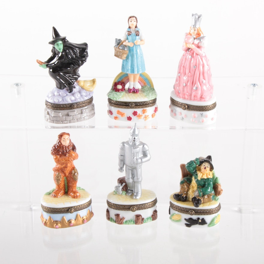 """Turner Entertainment """"The Wizard of Oz"""" Porcelain Trinket Boxes, Late 20th c."""