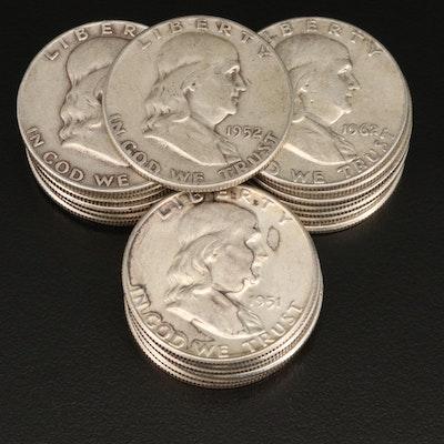 21 Franklin Silver Half Dollars, 1951–1963