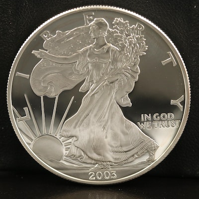 .999 Fine Proof American Silver Eagle Coin, 2003-W