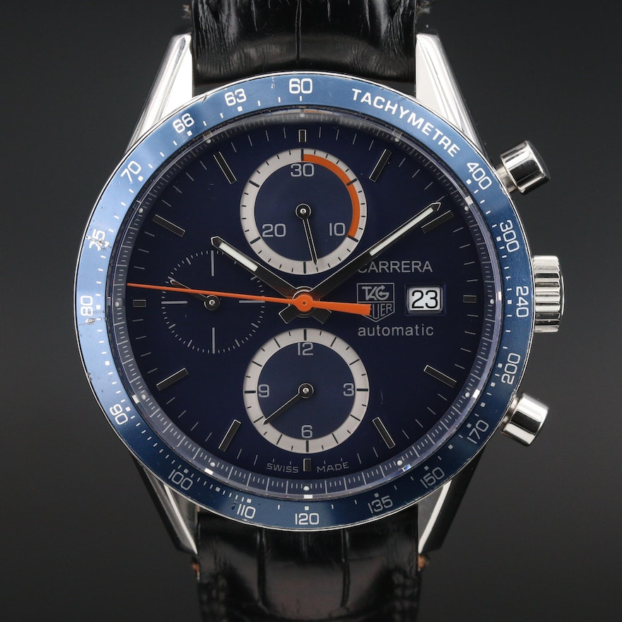 """TAG Heuer """"Carrera Calibre 16"""" Stainless Steel Chronograph Wristwatch"""
