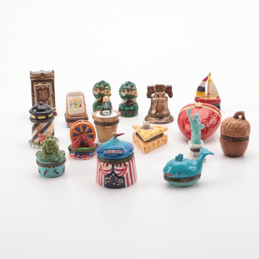 Hand Painted Novelty Porcelain Trinket Boxes