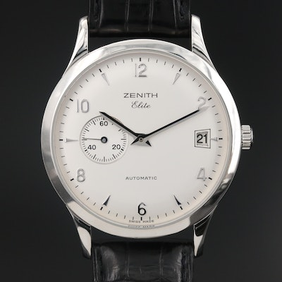 "Zenith ""Elite"" Stainless Steel Automatic Wristwatch"