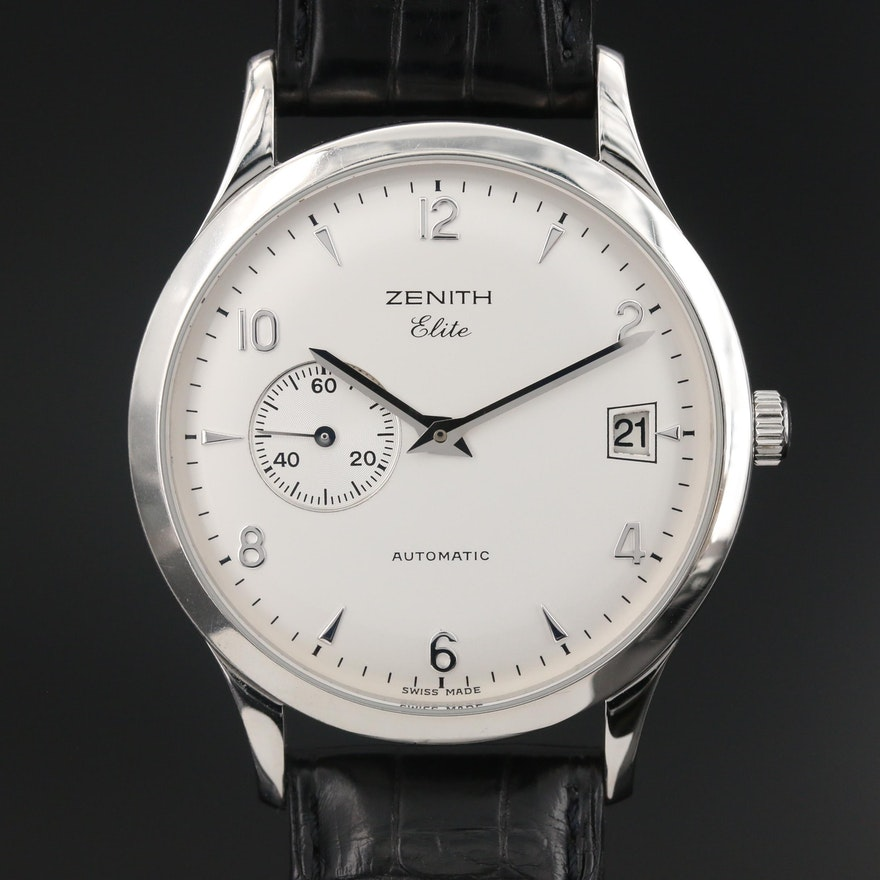 "Zenith ""Elite"" Stainless Steel Automatic Wristwatch"