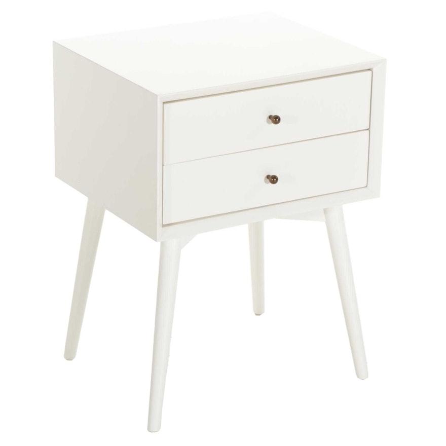 Williams-Sonoma Mid Century Modern Style White-Painted Nightstand