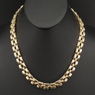 Italian 14K Panther Link Necklace