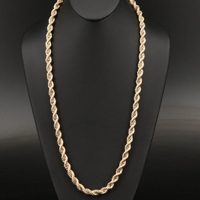 14K Two-Tone Rope and Box Link Wrapped Necklace