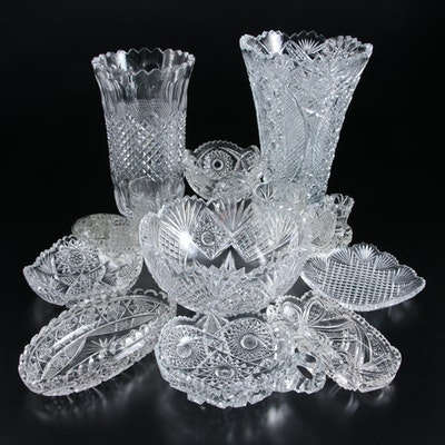 American Brilliant Cut and Early Pattern Glass Vases, Cups and Bowls
