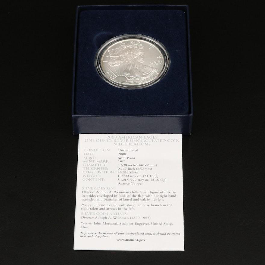 2008-W $1 American Silver Eagle Bullion Coin