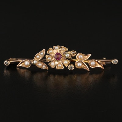 Victorian 14K Ruby and Pearl Floral Bar Brooch