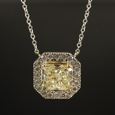 14K 2.31 CTW Diamond Necklace with GIA Report and Center Radiant Diamond