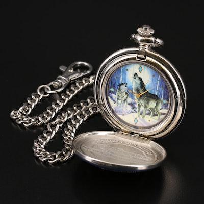 Franklin Mint Wolf Design Pocket Watch