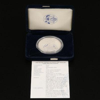 .999 Fine Proof American Silver Eagle Coin, 1999-P