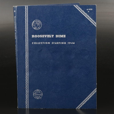Roosevelt Dime Collection in Whitman Coin Binder Including Key Date 1955-S