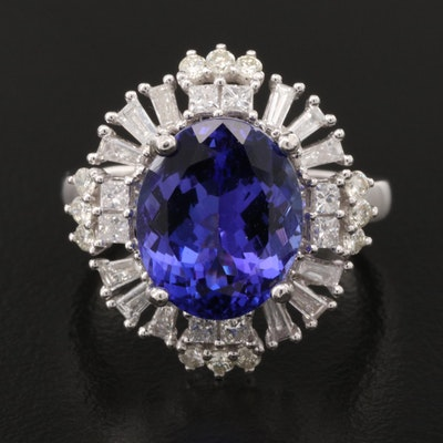 14K 4.98 CT Tanzanite and 1.02 CTW Diamond Ring