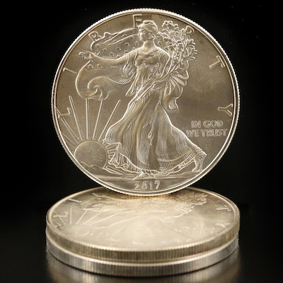 Three $1 American Silver Eagle Bullion Coins
