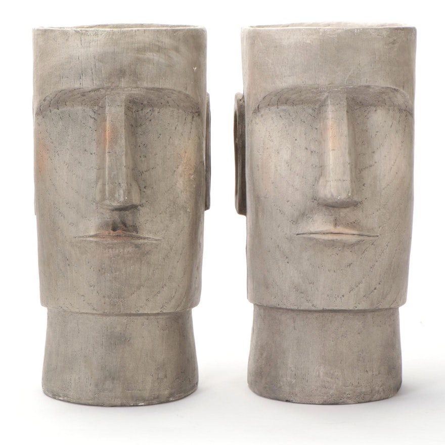 Sagebrook Home Resin Easter Island Head Planters
