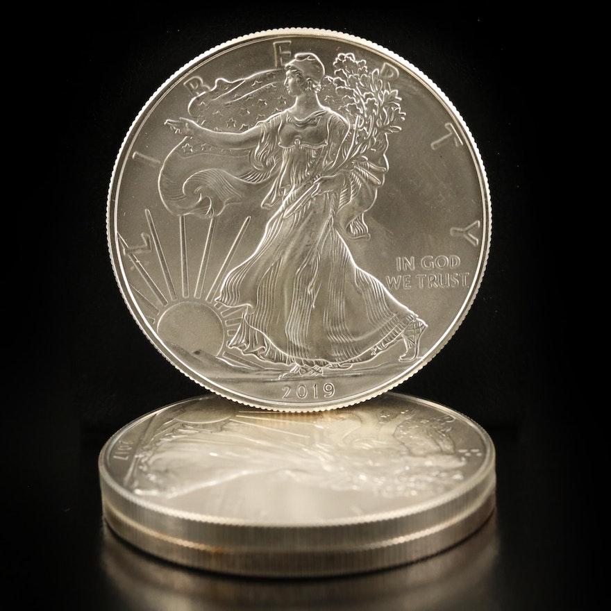 Three $1 American Silver Eagle Bullion Coins