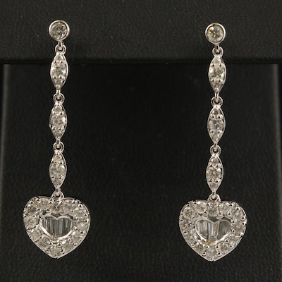 14K 2.06 CTW Diamond Heart Dangle Earrings