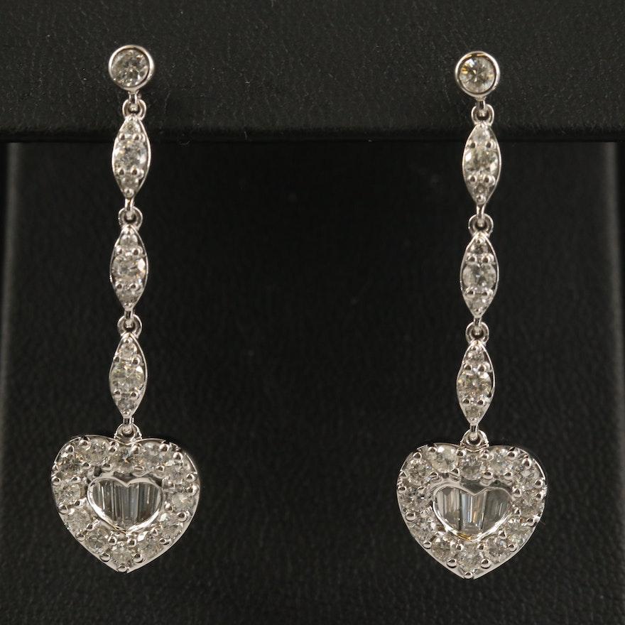 14K 2.06 CTW Diamond Heart Dangle Earrings