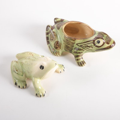 Brush McCoy Pottery Ceramic Frog Planter and Other Frog Figurine