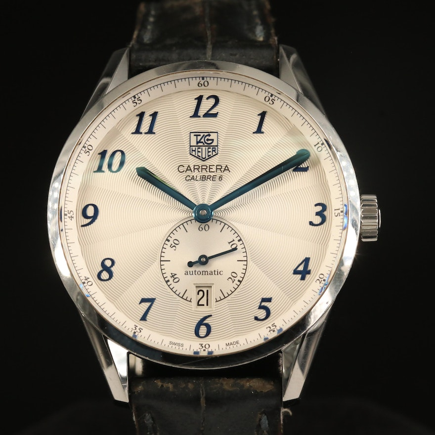 """TAG Heuer """"Carrera Calibre 6"""" Stainless Steel Automatic Wristwatch"""