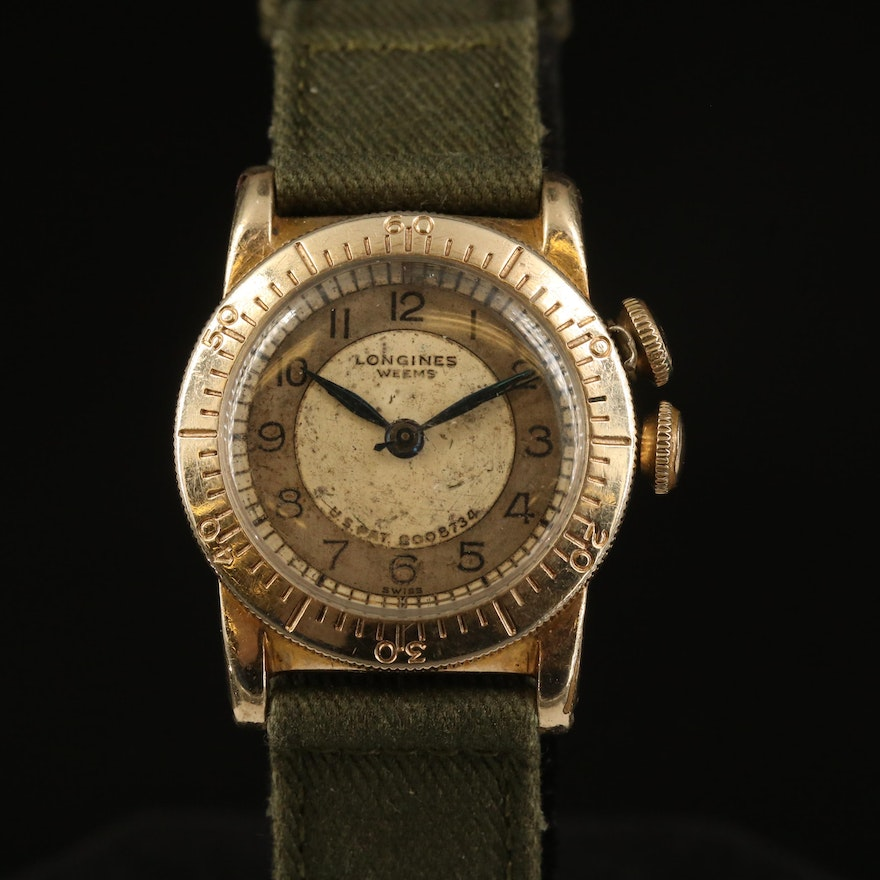 1938 Longines Weems Second-Setting Gold Filled Stem Wind Wristwatch
