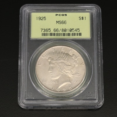 PCGS Graded MS66 1925 Peace Silver Dollar
