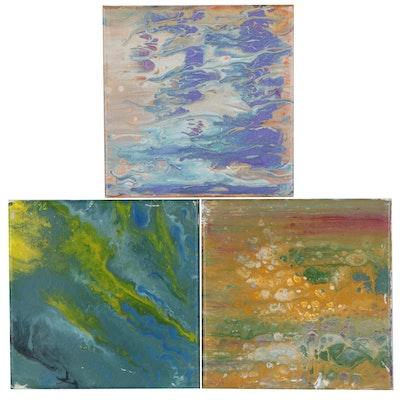 Elaine Neumann Abstract Acrylic Pour Paintings